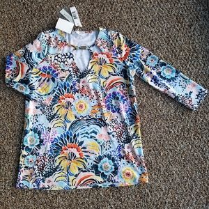 NWT Small Allison Taylor Floral 3/4 Sleeve Top
